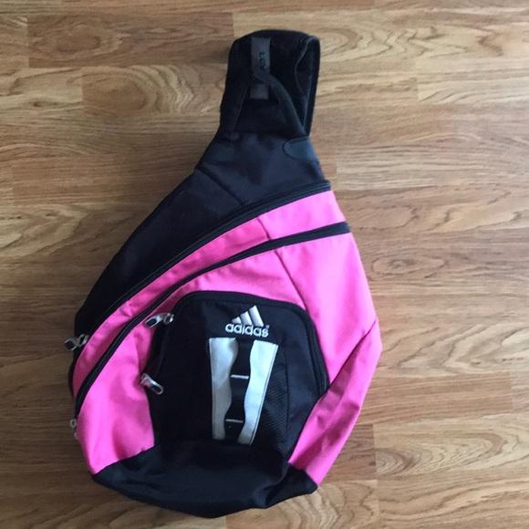8bfadd7f48f3 adidas Handbags - Black and Pink Adidas One Shoulder Sling Backpack